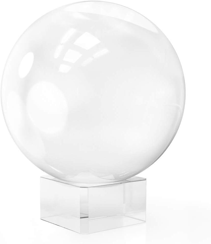 Navaris Bola de Cristal para fotografía - Esfera con Soporte - Bola de Vidrio K9 Transparente para decoración - Ø 80mm