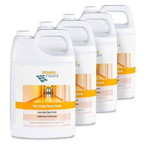 Floor Liquid Finish - Simply Floors FLC-00002 18% solids Floor Finish - [Pack of 4 - 1 gallon bottles] Economical Low Solids, High Gloss Floor Finish, Wax and Polish, Liquid Metal Cross Link Acrylic Floor Coating and Protecting Solution