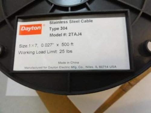 Dayton 2TAJ4 Wire Cable SS 304 500 Ft 0.027'' thick