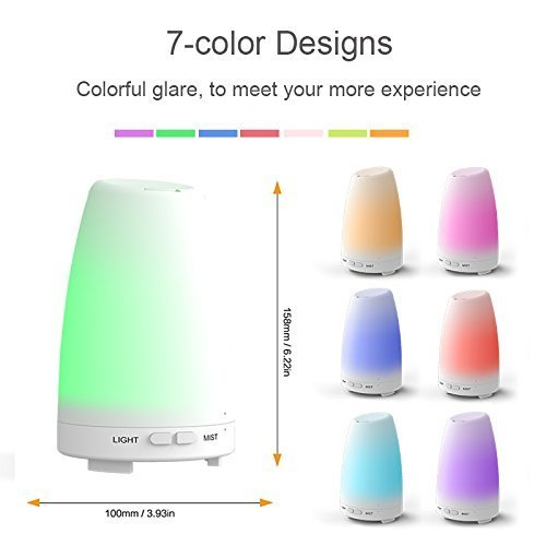 Aroma Essential Oil Diffuser, UNICOM 150ml Ultrasonic Cool Mist Air Humidifier Wood Grain Aroma Diffuser Waterless Auto Shut-off and 7 Color LED Lights Changing for Office Baby Bedroom Yoga Spa (108 White)