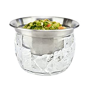 iKitchenPlus Chilled Dipping Bowls Stainless Steel & Crystal Clear Acrylic Ice Container, Lid Included, Keeps Party Food Chilled for Hours, 3 Piece Set, 22 Ounce Capacity