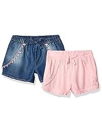 Limited Too Pantalones Cortos de Jean y rayón para niñas, Paquete de 2