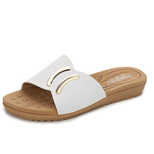 Aqua Fashion Lady Sandals Summer Leisure Round Flat Shoes Solid Color Half Slippers White EWVHQTkNY
