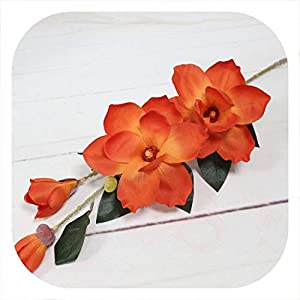 Memoirs- Artificial Orchid Flower Simulation Silk Magnolia Flower for Wedding Decoration Home Party Decoration Accessory,Orange 2