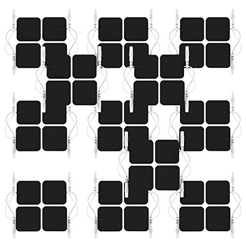 Reusable 48Pcs 1.5x 1.5 large square self-adhesive conductive electrode pads for HealthmateForever pain relief personal hand held electrotherapy massagers (Black Color)