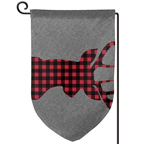 Double Sided Welcome Garden Flag 54 Width 1 Yard Panel - Large Plaid Buck Head On Grey Linen_16850 Yard Flag Banner for Home Outdoor Decor 12 X 18 Inch ()