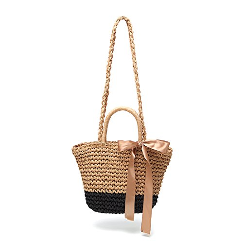 Handle Handbag Straw for Top Girls Brown Hobo Handbag Bag Beach Tote Black Lining Shoulder Cotton Womens Summer and AqwF7RFv