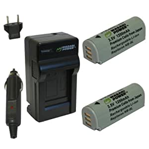 Wasabi Power Battery (2-Pack) and Charger for Canon NB-9L and Canon PowerShot N, N2, SD4500 IS, ELPH 510 HS, ELPH 520 HS, ELPH 530 HS