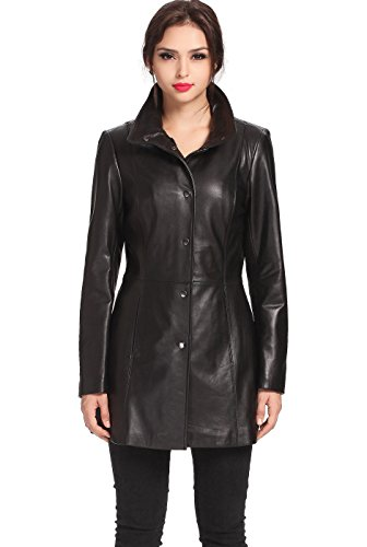 - BGSD Women's Jocelyn Lambskin Leather Car Coat - XL Black