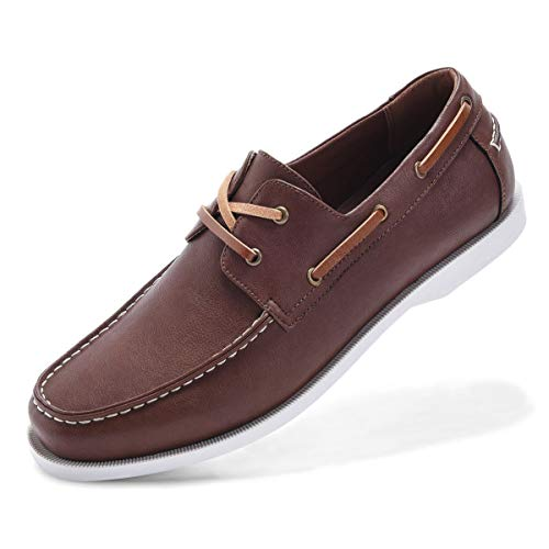 Classic Boat Shoes for Men-Smart Casual Work Loafer Stylish Two-Eyelet Moc Toe Walking Driving Shoes DK brown-14 (Classic Boat Shoes)