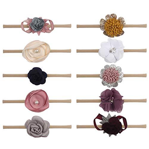 10Pcs Baby Girls Nylon Headbands Hair Bows Elastic Bands Newborn Infant Toddler Hair Accessories (10pcs flower - Tie Nylon Floral