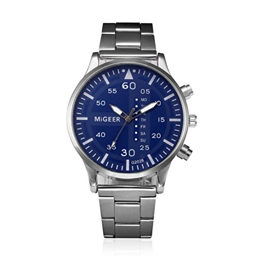 Napoo Men Crystal Stainless Steel Analog Round Dial Quartz Wrist Watch (Pc Movement Round Dial)