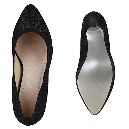 Stiefelparadies Spitze Damen Pumps Satinoptik Pailletten High Heels Schuhe Flandell Schwarz