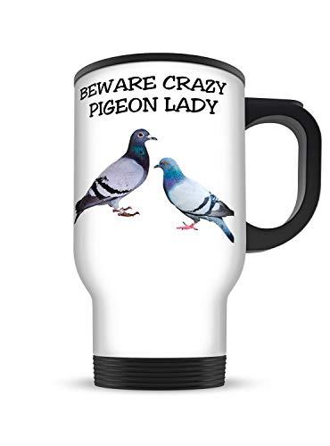 (Funny Gift Mug 14oz Beware Crazy Pigeon Lady White Aluminium Travel Mug)