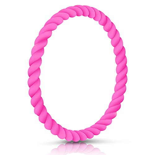 SZHSR Silicone Wristbands, Fashion 7.5in Silicone Bracelets for Couples Gifts, Party, Fitness, Workouts, Basketball, Lifting, Dancing, Yoga, Pilates, A Perfect Match for iWatch(Rose Red)