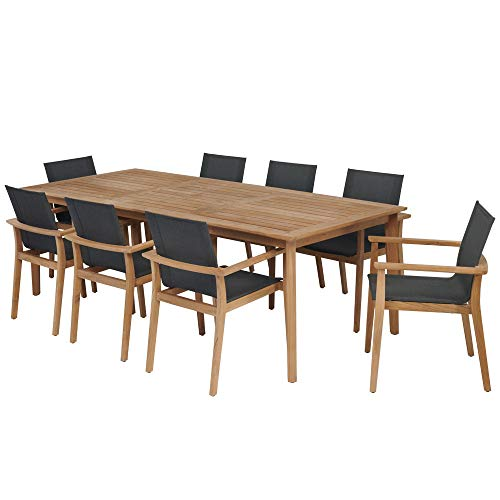 POVL Outdoor Menlo Large Rectangular Teak Dining Set with Sling Armchairs Graphite- 8 Chairs
