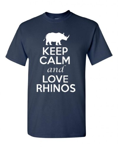 Keep Calm and Love Rhinos Adult Navy Blue T-Shirt Tee (Small, Navy Blue)