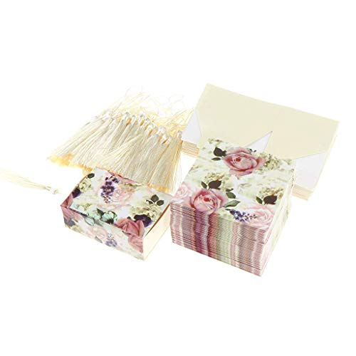 50pcs Flower Printed Drawer Design Gift Box Sweets Chocolate Candy Boxes with Tassels for Wedding Favors