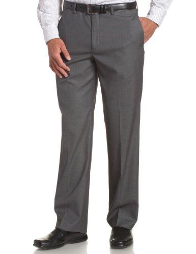 Perry Ellis Men's Portfolio Modern Fit Flat Front Bengaline Pant, Fog Heather, 34x34