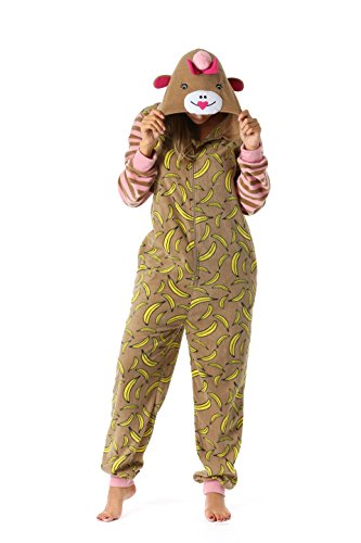 Just Love 6351-M Adult Onesie/Womens Pajamas Monkey Medium