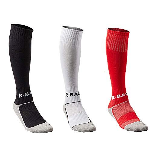 - Uniprime Kids Long Soccer Socks Sports Team Tube Compression Stockings Knee High Football Socks (Black/White/Red)