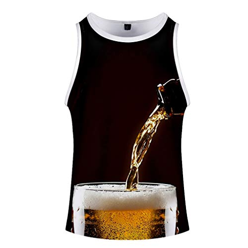 Men's Summer Beer Festival 3D Printed O-Neck Short Sleeveless Vest Top Coffee