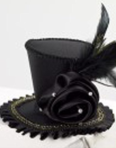 Forum Novelties Women's Mini Top Hat with Rose Costume Accessory, Black, One (Ladies Top Hat)