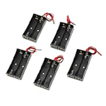 uxcell 5 Pcs 2 x 1.5V AA Battery Holder Case Storage Box Black w Wire Leads