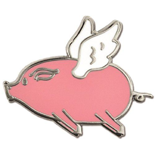 PinMart's Cute Pink Flying Pig Trendy Enamel Lapel ()