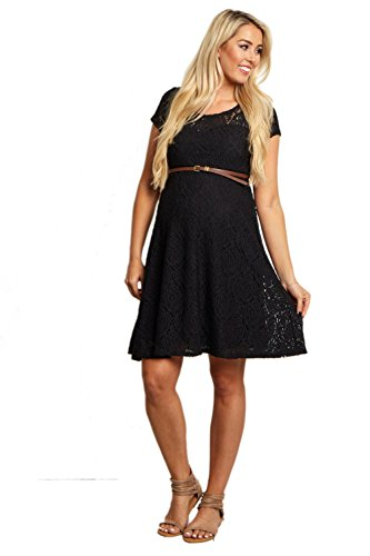 Buy belted black lace dress - 6