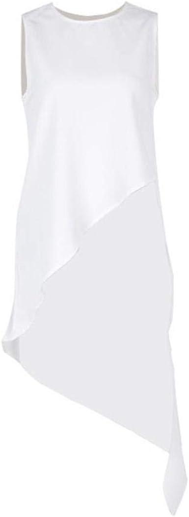 LanLan Camisa de Gasa Mujer sin Mangas asimétrica de Gran tamaño Camisas de Cola de Milano Mujer 2019 Verano Moda OL Ropa, Blanco, L: Amazon.es: Ropa y accesorios