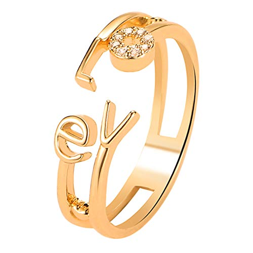 Gsdviyh36 Fashion Letter Love Rhinestone Hollow Band Opening Ring Couple Jewelry Valentine's Day Charming Jewelry Gift Clothing Accessories