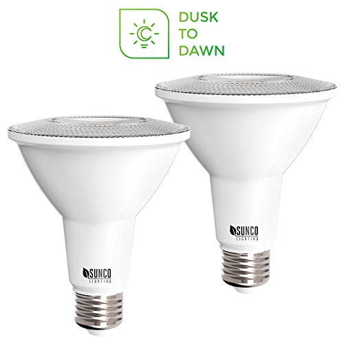 Sunco Lighting 2 Pack PAR30 LED Bulb, Dusk-to-Dawn Photocell Sensor, 11W=75W, 3000K Warm White, 850 LM, Auto On/Off Security Flood Light - -