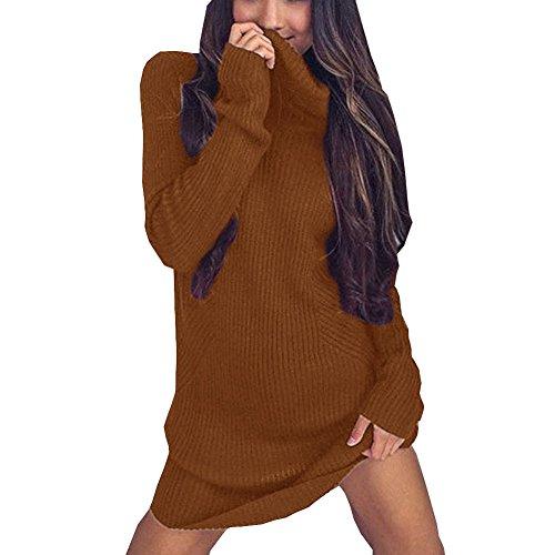 FineLook Womens Winter Fashion Turtleneck Long Sleeve Oversized Knitted Sweater Jumper Dress (XL, Brown)