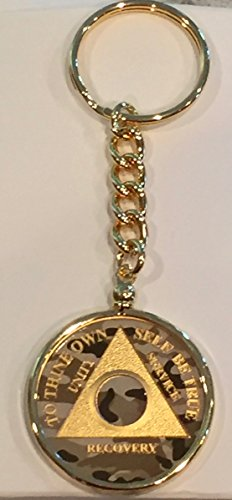 Camo Gold Plated Any Year 1 - 65 AA Medallion In Keychain Removable Sobriety Chip Holder