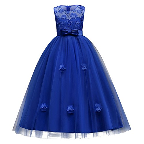 IBTOM CASTLE Little Big Girls'Tulle Retro Vintage Dresses Flower Lace Pageant Party Wedding Floor Length Dance Evening Gown