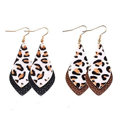 Double Teardrop Earrings - SENTERIA Genuine Leather Leopard Earrings Set Lightweight Double Layer Teardrop Petal Leaf Leather Dangle Earrings Bohemian Leather Drop Earring for Women Jewelry (2pair-Style 2)