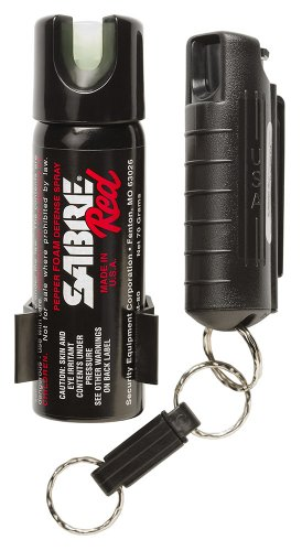 SABRE RED Police Strength Pepper Spray – Home and Away Protection Kit – Compact, Black Case with Quick Release and Glow-In-Dark Home Spray with Wall Mount, Outdoor Stuffs