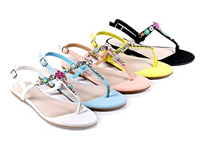 Bamboo Fashion Flowers Blink Rhinestone Slingbacks Flats Womens Summer Sandals Casual Shoes New Without Box