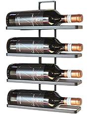 DanDiBo Wijnrek metaal zwart wandmontage 4-wijn willekeurig uitbreidbaar flessenrek flessenrek flessenhouder