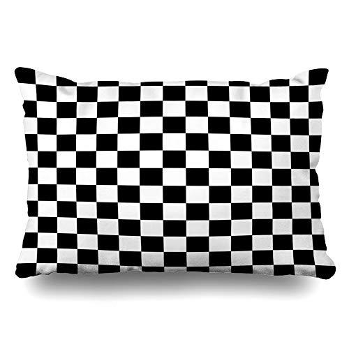 Ahawoso Throw Pillow Cover Queen 20x30 Battle Pattern Checkered Board Checker Strategy Abstract Black Check Chess Cushion Case Home Decor Pillowcase