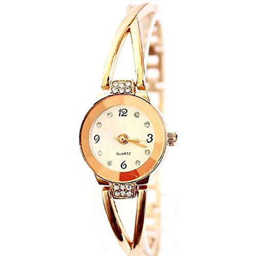Women Rose Gold Plated Alloy Rhinestone Dial Bracelet Wrist Watch Gift Gold - 5
