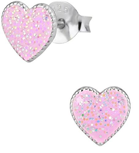 Hypoallergenic Sterling Silver Light Pink Heart Stud Earrings for Kids (Nickel (Kids Earring)