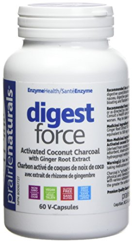 Prairie Naturals Digest Force with Ginger Extract Activated Charcoal Vegetarian Capsules, 60 Count