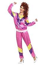 Smiffy's Smiffys-39660L Disfraz de chándal al colmo de la Moda de los 80, con Chaqueta y Pantalones, Color Rosado, L - EU Tamaño 44-46 39660L