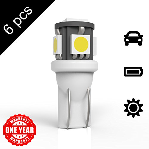 94 T10 5SMD LED Bulbs Car License Plate Lights Lamp White 12V ()