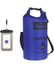 Unigear Dry Bag, 2L/5L/10L/20L Roll Top Lightweight Floating Dry Sack for Kayaking, Boating, Fishing, Camping and Hiking with Waterproof Phone Case (Blue-2L)