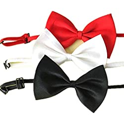 Zehui 3 Pajaritas Ajustables para Perros,Corbata del Perro Elegante, Collar para Mascotas Perfecto para Bodas, Accesorios para Fiestas con Corbata