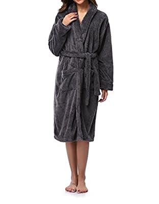 Caffia Women's Shawl Collar Wrap Robe Soft Plush Coral Fleece Bathrobe