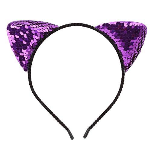 Dolland Glitter Cat Ears Headband for Girls Reversible Sequin Girls Headbands Kids Hair Hoop Headwear,Purple